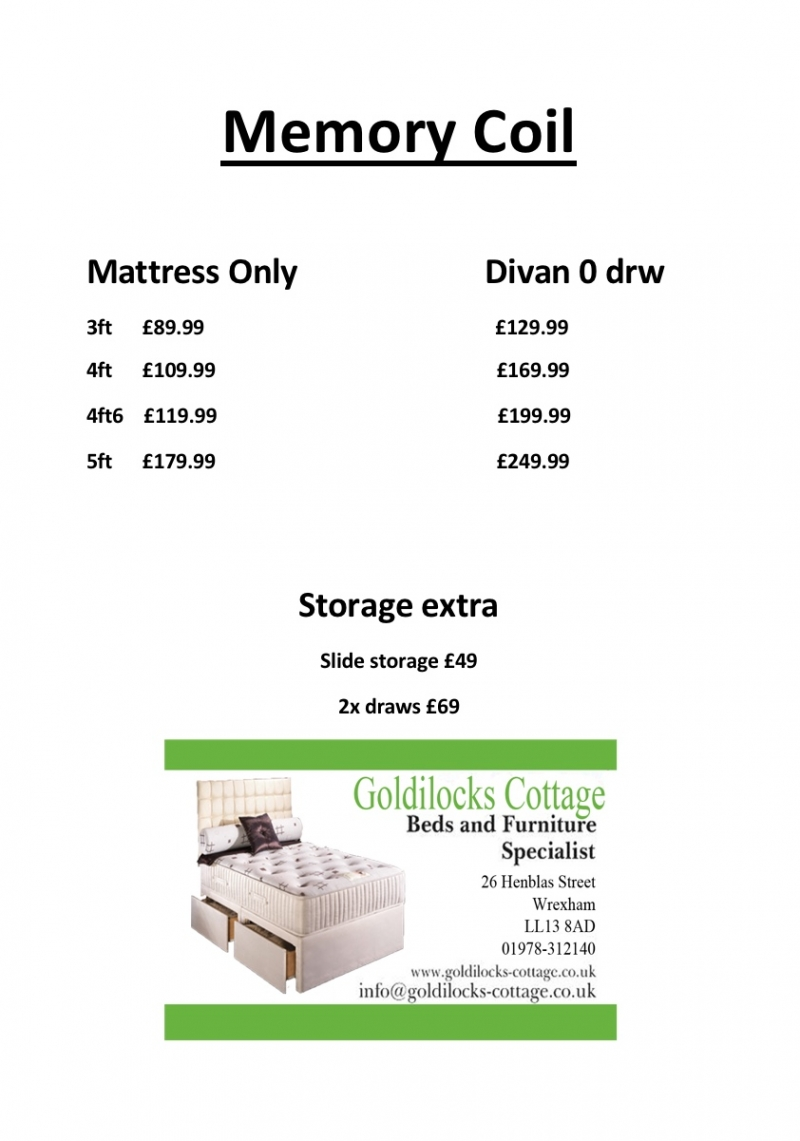 Memory foam mattress and base price list