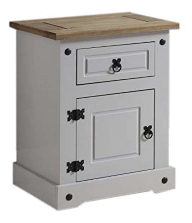 Corona 1 drawer 1 door bedside cabinet (grey)