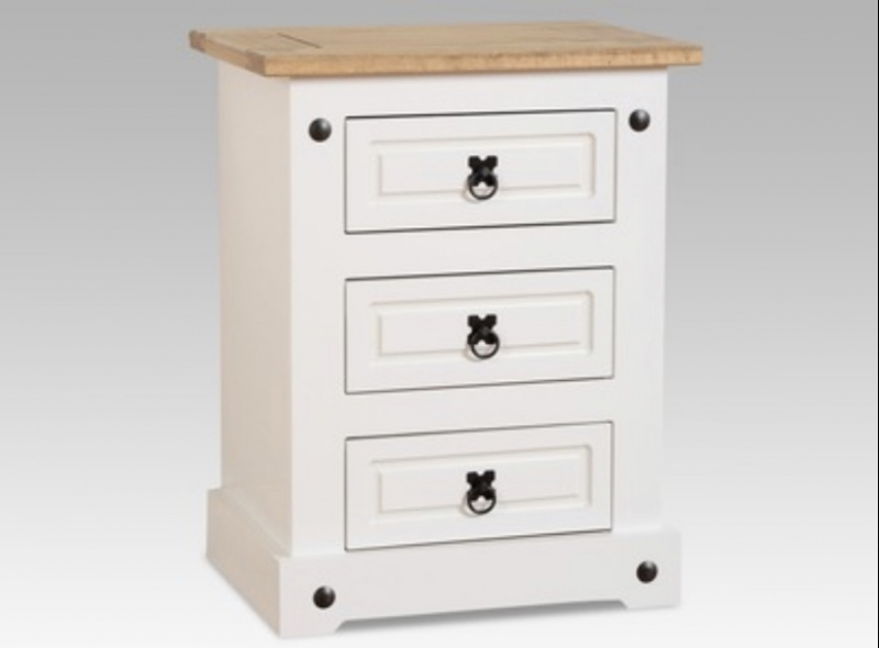Corona 3 drawer bedside chest (white)
