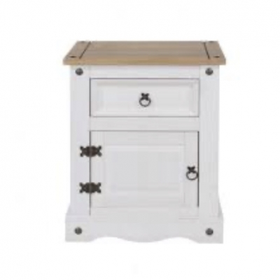 Corona 1 Drawer 1 door bedside cabinet (white)